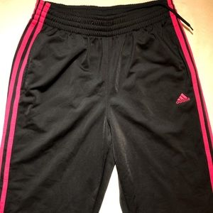 Medium Adidas black sweat pants with pink stripes
